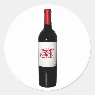 Pegatinas cones monograma de la botella de vino