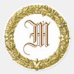 Pegatinas cones monograma de la guirnalda del oro etiquetas redondas