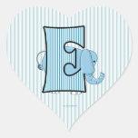 """Pegatinas cones monograma del corazón de """"E"""" del Calcomanía Corazón Personalizadas"""