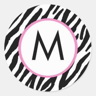Pegatinas cones monograma del estampado de zebra pegatina redonda