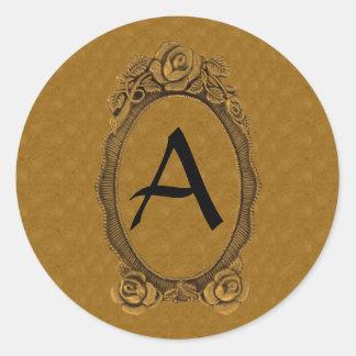 Pegatinas cones monograma en oro y negro pegatina redonda