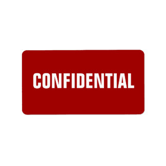 Pegatinas confidenciales rojos intrépidos etiqueta de dirección