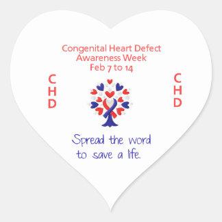 Pegatinas congénitos de la semana de la conciencia pegatinas de corazon