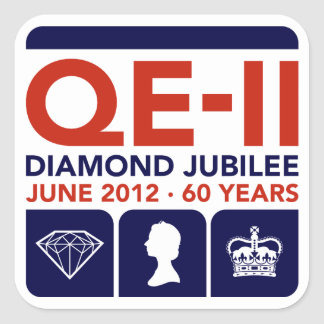 Pegatinas conmemorativos del jubileo de diamante pegatina cuadrada