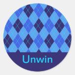 Pegatinas conocidos personalizados U iniciales del Etiqueta Redonda