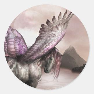Pegatinas cons alas de Pegaso Etiqueta Redonda