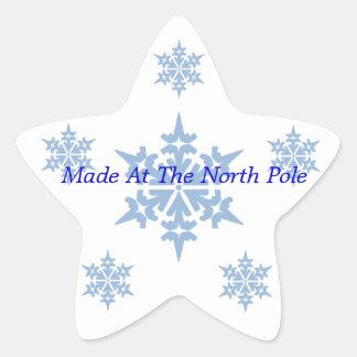 Pegatinas--Copos de nieve azules Calcomanía Cuadrada Personalizada