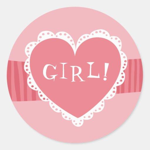 Pegatinas: Corazón de la niña con el cordón Etiqueta Redonda
