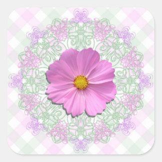 Pegatinas - cosmos rosado medio en cordón y pegatina cuadrada