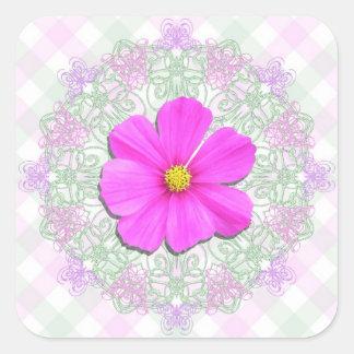Pegatinas - cosmos rosado oscuro en cordón y pegatina cuadrada