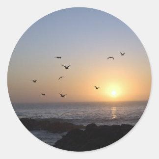 Pegatinas costeros de la puesta del sol