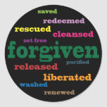 Pegatinas cristianos perdonados (negro) pegatinas redondas