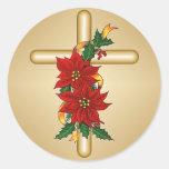 Pegatinas cruzados del navidad del Poinsettia del Etiquetas Redondas