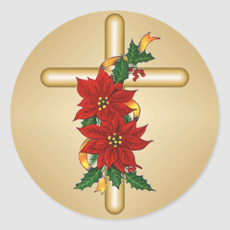 Pegatinas cruzados del navidad del Poinsettia del Pegatina Redonda