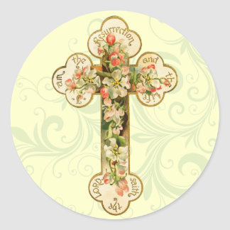 Pegatinas cruzados retros de Pascua Pegatina Redonda