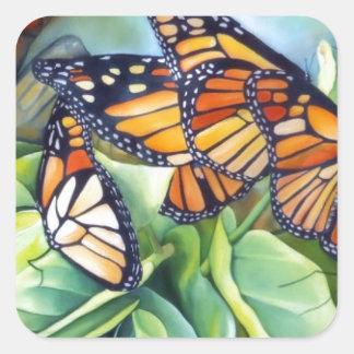 Pegatinas, cuadrado/migración del monarca calcomanías cuadradas