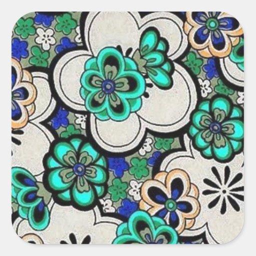 Pegatinas cuadrados azules del trullo abstracto pegatina cuadrada