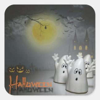 Pegatinas cuadrados, brillantes - feliz Halloween Pegatina Cuadrada