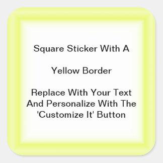 Pegatinas cuadrados con una frontera amarilla en pegatina cuadrada
