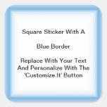 Pegatinas cuadrados con una frontera azul en hojas calcomanía cuadradas personalizada