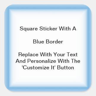 Pegatinas cuadrados con una frontera azul en hojas pegatina cuadrada