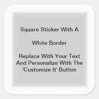 Pegatinas cuadrados con una frontera blanca en pegatina cuadrada