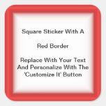 Pegatinas cuadrados con una frontera roja en hojas calcomania cuadrada personalizada