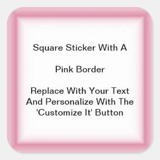 Pegatinas cuadrados con una frontera rosada en colcomanias cuadradas