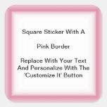 Pegatinas cuadrados con una frontera rosada en pegatina cuadrada