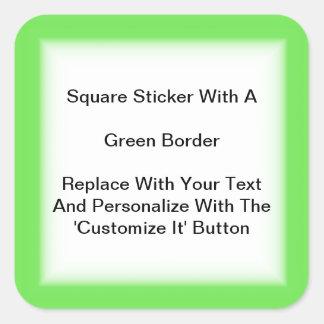Pegatinas cuadrados con una frontera verde en pegatina cuadrada