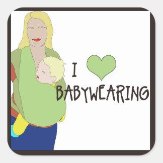 Pegatinas cuadrados de I <3 Babywearing - estilo B Pegatina Cuadrada