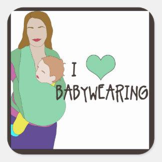 Pegatinas cuadrados de I <3 Babywearing - estilo C Pegatina Cuadrada