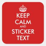 Pegatinas cuadrados de KeepCalm el | Personalizabl