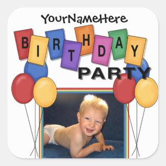 Pegatinas cuadrados de la foto de la fiesta de cum