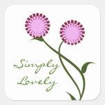 Pegatinas cuadrados de las floraciones preciosas,