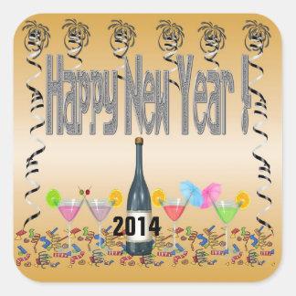 Pegatinas cuadrados de los cócteles del Año Nuevo Calcomanía Cuadradas Personalizadas