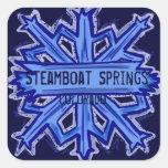 Pegatinas cuadrados del copo de nieve de Steamboat Pegatinas Cuadradas Personalizadas