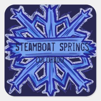 Pegatinas cuadrados del copo de nieve de Steamboat Pegatina Cuadrada