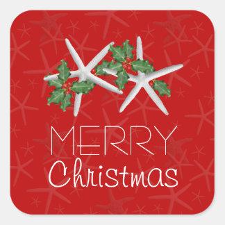 Pegatinas cuadrados del navidad tropical rojo y pegatina cuadrada