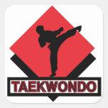 Pegatinas cuadrados del Taekwondo Calcomanías Cuadradases