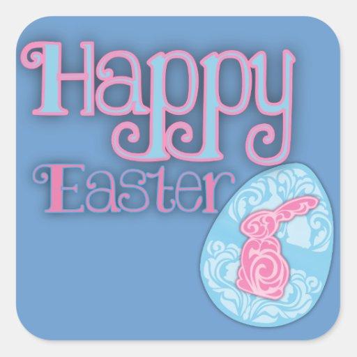 Pegatinas cuadrados   felices de Pascua Pegatina Cuadrada