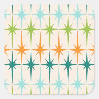 Pegatinas cuadrados geométricos de Starbursts del Pegatina Cuadrada