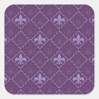 Pegatinas cuadrados púrpuras del modelo de la flor
