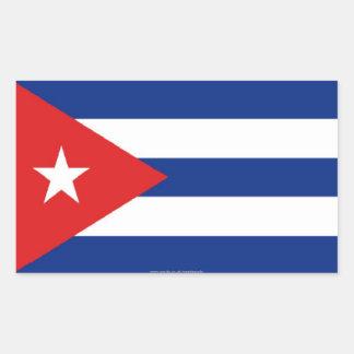 Pegatinas cubanos de la bandera pegatina rectangular