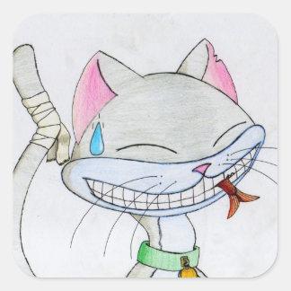 Pegatinas culpables del gato pegatina cuadrada