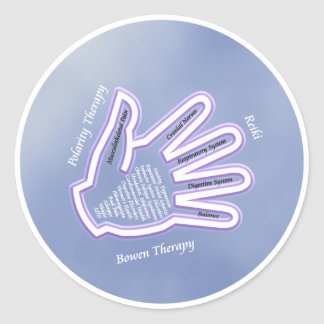 Pegatinas curativos de la mano etiqueta redonda