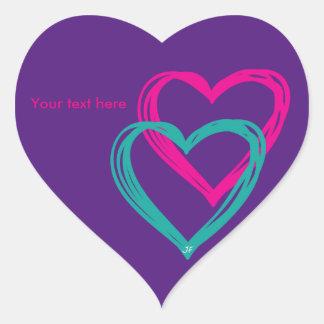 """Pegatinas de """"2 corazones"""" pegatina en forma de corazón"""