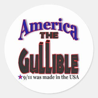 Pegatinas de 9/11 conspiración pegatina redonda