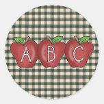 Pegatinas de ABC Apple de la colección de la Etiquetas Redondas