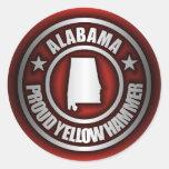 """Pegatinas de acero de """"Alabama"""" (rojos) Pegatinas Redondas"""